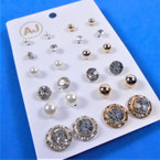 Value Pack 12 Pair Gold Stud  Earrings Mixed on Card (90) .54 per set