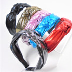 "1.5"" Metallic Fabric 6-Color  Mix  Fashion Headbands w/ Knot (2044)  .56 each"