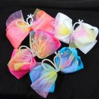 3 Layer Gator Clip Bows w/ Rainbow Lace & Mini Crown  .56 each