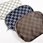"6"" X 8"" Checker Pattern Zipper Cosmetic Bags 3 colors   .56 each"