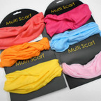 Carded Multifunctional Scarf/Headwear/ Mask  Light Color Mix .66  each
