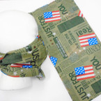 Multifunction Face Mask Scarf Army Green w/ Print & USA Flag (74386) 10 per pk .75 each
