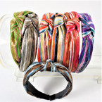 "1.5"" Metallic Stripe Look Print  Fashion Headbands w/ Knot mixed colors .58 each"
