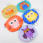 "4.5"" Velveteen Owl Theme Zipper Coin Bag w/ Keychain .54 each"