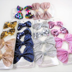 Special 4 Pack Sequin & Sparkle Gator Clip Bows  .58 per set