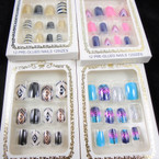 New Multi Design 12 Pk Pre Glued Fashion Nails (649 ) .54 each set