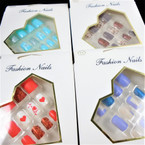 New Multi Design 12 Pk Pre Glued Fashion Nails (1078 ) .54 each set