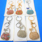 Gold & Silver Fashion Keychain & Clip  w/ Crystal Stone Handbag w/ Bow   .58 each