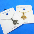 Gold & Silver Stainless Steel w/ Tree of Life Pend. Necklace   12 per pk  .58 each