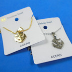 Gold & Silver Stainless Steel w/ Anchor Pend. Necklace   12 per pk  .58 each