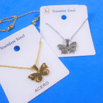 Gold & Silver Stainless Steel w/ Butterfly Pend. Necklace   12 per pk  .58 each