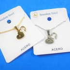Gold & Silver Stainless Steel w/ Open DBL Heart Pend. Necklace   12 per pk  .58 each