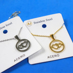 Gold & Silver Stainless Steel w/ DBL Heart in Circle Pend. Necklace   12 per pk  .58 each