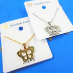 Gold & Silver Stainless Steel w/ Open Butterfly Pend. Necklace   12 per pk  .58 each