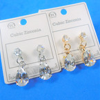 Classy Gold & Silver Pear Shaped Cubic Drop Earrings .56 per pair