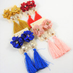 "3"" Popular Tassel Earrings w/ Crystal & Flower Top  .54 per pair"