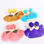 Cute Fringe Style  Earrings w/  Flower Top Asst Colors   .54 per pair