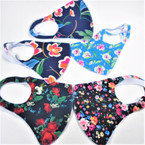Mixed Floral Print Face Masks  Washable & Reusable 12  per pk  .50 ea