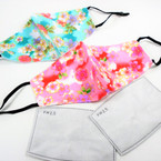 Adjustable 2 Layer w/ Filter Pocket & 2 Filters   Protective Face Mask  Flower Style    $ .99each