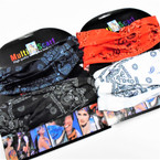 Carded Multifunctional Scarf/Headwear/ Mask  Bandana Print 4 colors   .60  each