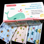 Childrens 3 Layer Protection  Disposable Face Masks  50 pcs per pack  .25 each