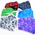 2 Layer Classy Paisley Print  Adjustable Protective Face Mask  12 per pk $ 1.50 each