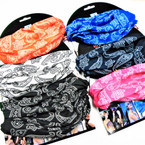 Carded Multifunctional Scarf/Headwear/ Mask  Bandana Print 6 color   .66  each