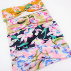 "3"" New Cool Hawaiian Flower  Print Stretch Headbands   12 per pk   .58 each"
