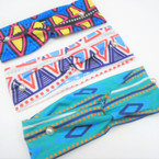 "3"" New Cool Aztec  Pattern  Stretch Headbands   12 per pk   .58 each"