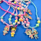 Kid's Plastic Necklace & Bracelet Set w/ Cutie Girl Pendant  (85) .54 per set