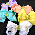 """5"""" Fruit Theme Gator Clip Bows w/ Stone Pineapple Middle .56 each"""