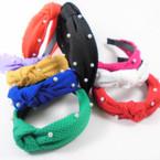 "1.5"" Textured Fabric Fashion Headbands w/ Knot & Pearls   .56 each"