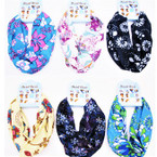 Carded Multifunctional Scarf/Headwear/ Mask  Flower Pattern  (48) .66  ea