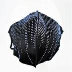 Black Fashion Face Mask Reusable w/ Mini Faceted Clear Acrylic Stones 12 per pk   $ 1.10 each