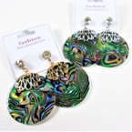 "1.5"" Round Gold & Silver  Top Abalone Shell Look Earring w. Cry. Stone 60 per pair"