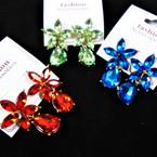 Flower Top w/ Tear Drop Acrylic Stone Fashion Earrings .56 per pair