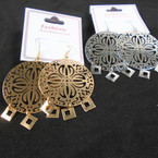 "1.5"" Gold  & Silver Laser Cut  Fashion Earrings Lightweight  .54 per pair"