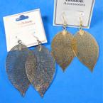 "2.5"" Gold & Silver Laser Cut  Fashion Earrings Lightweight (leaf)   .54 per pair"