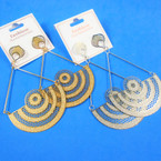 """4"""" Gold & Silver Laser Cut  Fashion Earrings Lightweight Frosted Finish  .54 per pair"""