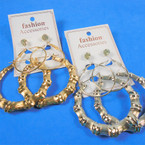 Earring Set 3 Pair Gold & Silver Hoop,RD Bamboo &  Crystal Studs .54 per set