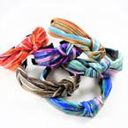 "1.5"" Metallic Stripe Look Print  Fashion Headbands w/ Knot mixcolors .56 each"