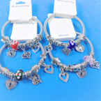All Silver Spring Style Bracelet w/ Color Beads & Heart Charms .58 each