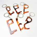 "3"" Acrylic Tortoise Shell  No Touch Key Chain for Personal Safety 12 per pk .58 each"
