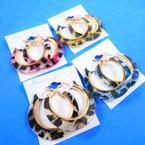 "1.75"" Acrylic Fashion Hoop Earrings Animal Print Pattern .54 per pair"