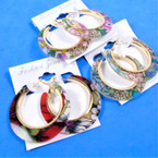 "1.75"" Acrylic Fashion Hoop Earrings Flower Pattern .54 per pair"