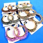"1.75"" Acrylic Fashion Hoop Earrings Leopard Print Pattern .54 per pair"