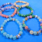 Glass Marble Bead Stretch Bracelet w/ Cry. Stone Asst Colors .60 each
