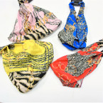 Animal Print w/ Chain  3 in 1 Headbands/MASK/Mask Cover w/  Elastic Back .58 each