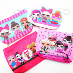 "5"" Fun Kids Theme Zipper Coin Purse w/ Keychain .56 each"