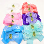 "5"" Colorful Multi Layer  Gator Clip Bows w/ Stone Pineapple Middle .54 each"